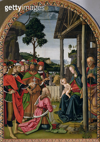 <b>Title</b> : Adoration of the Magi, c.1476 (oil on panel)Additional Infopreviously attributed to Fiorenzo di Lorenzo;<br><b>Medium</b> : oil on panel<br><b>Location</b> : Galleria Nazionale dell'Umbria, Perugia, Italy<br> - gettyimageskorea