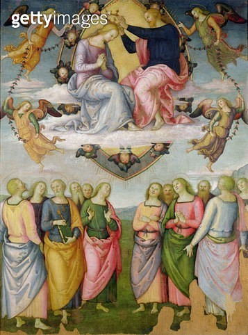 <b>Title</b> : The Coronation of the Virgin (oil on panel)<br><b>Medium</b> : oil on panel<br><b>Location</b> : Galleria Nazionale dell'Umbria, Perugia, Italy<br> - gettyimageskorea