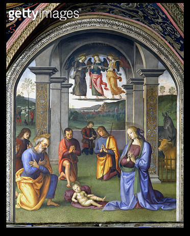 <b>Title</b> : The Adoration of the Shepherds, from the Sala dell'Udienza, 1496-1500 (fresco)<br><b>Medium</b> : <br><b>Location</b> : Collegio del Cambio, Perugia, Italy<br> - gettyimageskorea