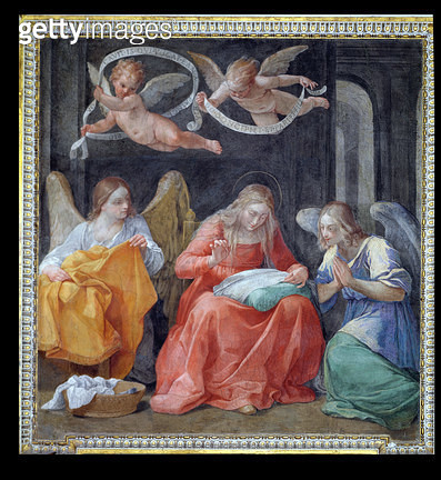 <b>Title</b> : The Virgin Sewing, from the 'Cappella dell'Annunciata' (Chapel of the Annunciation) 1610 (photo)<br><b>Medium</b> : <br><b>Location</b> : Palazzo del Quirinale, Rome, Italy<br> - gettyimageskorea