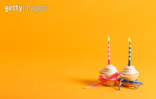 Cupcakes with candles party theme - gettyimageskorea
