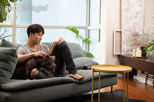 Young man with pet dog on sofa - gettyimageskorea