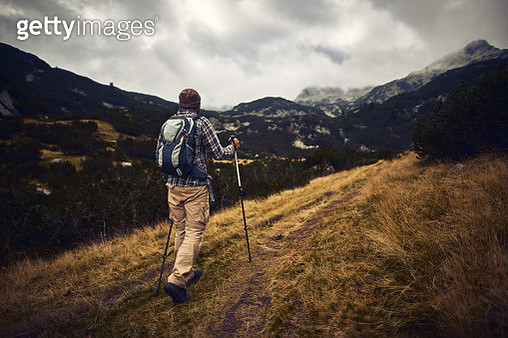 Hiking in the mountains alone - gettyimageskorea