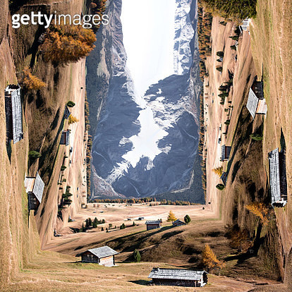 Surreal picture of Alpe di Siusi bending landscape like paper creating original panoramic picture. - gettyimageskorea
