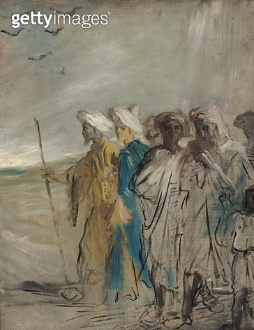 <b>Title</b> : Group of Arabs or, Joseph Sold by his Brothers (oil on canvas)<br><b>Medium</b> : oil on canvas<br><b>Location</b> : Musee des Beaux-Arts, Caen, France<br> - gettyimageskorea