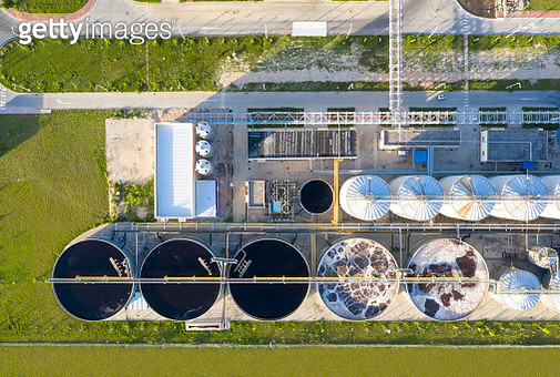 Sewage treatment plant from the perspective of drone - gettyimageskorea
