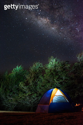 Camping below Milky Way - gettyimageskorea