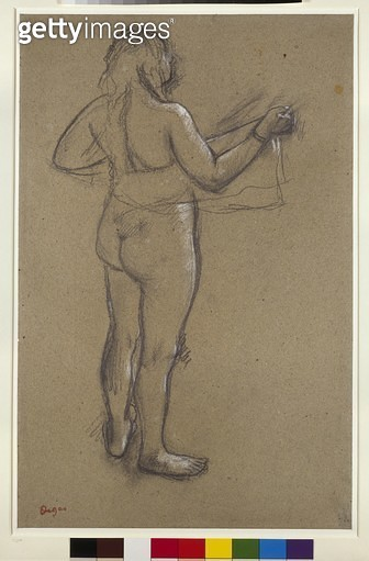 <b>Title</b> : Nude Woman Drying Herself (charcoal heightened with white on paper)<br><b>Medium</b> : charcoal heightened with white on paper<br><b>Location</b> : Ashmolean Museum, University of Oxford, UK<br> - gettyimageskorea