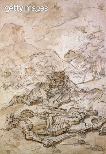 <b>Title</b> : The Sad Situation of Don Quixote and Sancho Panza, Ill-Treated by the Galley Slaves (black chalk & brown wash on paper)<br><b>Medium</b> : black chalk and brown wash on paper<br><b>Location</b> : Ashmolean Museum, University of Oxford, UK<b - gettyimageskorea