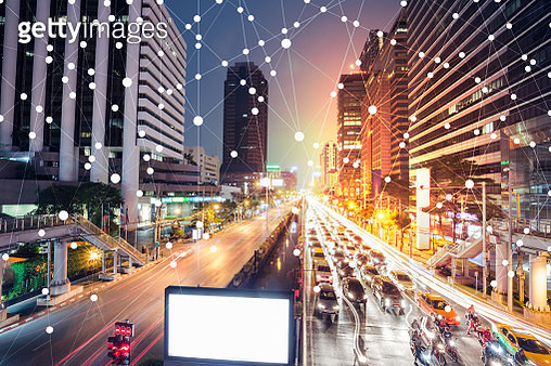 Digital skyscrappers with wifi technology and network connection concept. - gettyimageskorea