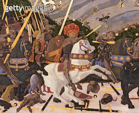 <b>Title</b> : The Battle of San Romano, c.1450-60 (tempera on panel) (detail of 30690)Additional InfoNiccolo da Tolentino on white horse;<br><b>Medium</b> : <br><b>Location</b> : National Gallery, London, UK<br> - gettyimageskorea