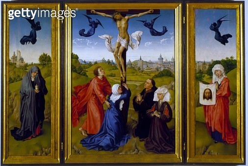 <b>Title</b> : Crucifixion triptych with St. Mary Magdalene, St. Veronica and unknown Patrons, c.1440-45 (oil on panel)<br><b>Medium</b> : oil on panel<br><b>Location</b> : Kunsthistorisches Museum, Vienna, Austria<br> - gettyimageskorea