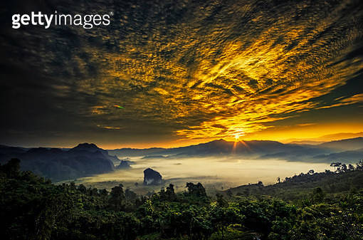 Beautiful sunrise with the morning mist, at Phu Lang ka National Park - gettyimageskorea