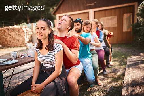 They are at an outdoor table - gettyimageskorea