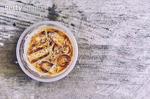 High Angle View On Iced Coffee - gettyimageskorea