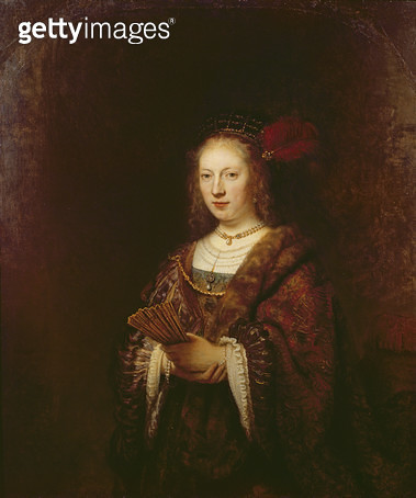 <b>Title</b> : Lady with a fan, 1643 (oil on canvas)<br><b>Medium</b> : oil on canvas<br><b>Location</b> : Private Collection<br> - gettyimageskorea