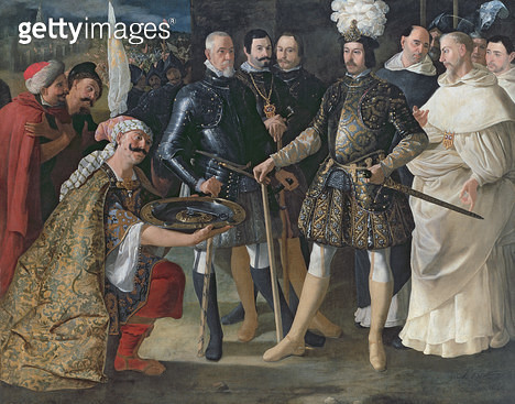 <b>Title</b> : The Surrender of the Keep, 1629 (oil on canvas)Additional InfoFerdinand III (c.1201-52) King of Castile accepting the surrender<br><b>Medium</b> : oil on canvas<br><b>Location</b> : Private Collection<br> - gettyimageskorea