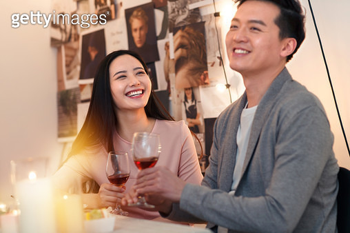 Young couples eating dinner - gettyimageskorea