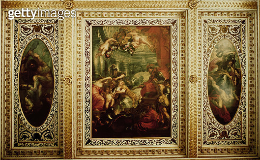 <b>Title</b> : The Whitehall Ceiling: The Unification of the Crowns, 1632-34 (oil on canvas)Additional Infototal ceiling = 33.5 x 16.9 metres;<br><b>Medium</b> : <br><b>Location</b> : Banqueting House, Whitehall, London, UK<br> - gettyimageskorea