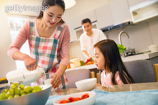 Happy family was eating breakfast - gettyimageskorea