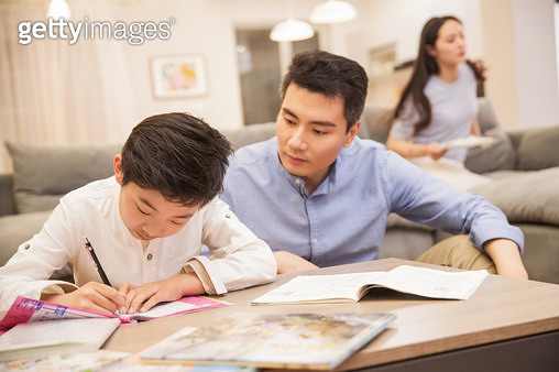 Happy family in the living room - gettyimageskorea