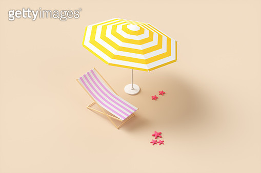Abstract beach umbrella on the beach near the sun lounger and starfish. 3d render illustration - gettyimageskorea