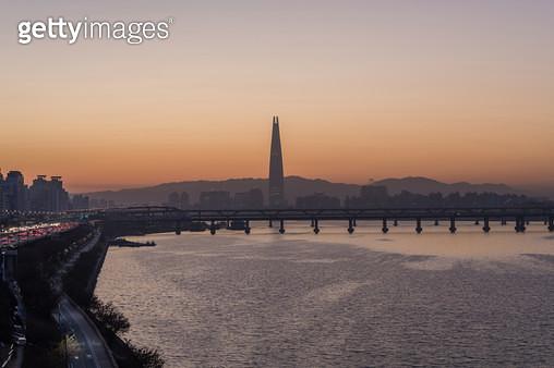 한강 여명, 서울특별시 한강 - gettyimageskorea