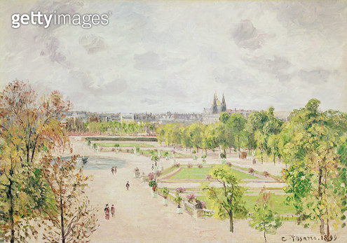 <b>Title</b> : The Garden of the Tuileries, Morning, Grey Weather, 1899 (oil on canvas)Additional InfoJardin des Tuileries, Matin, Gris Temps;<br><b>Medium</b> : oil on canvas<br><b>Location</b> : Private Collection<br> - gettyimageskorea