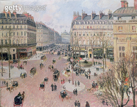 <b>Title</b> : Place du Theatre Francais, Afternoon Sun in Winter, 1898 (oil on canvas)<br><b>Medium</b> : oil on canvas<br><b>Location</b> : Private Collection<br> - gettyimageskorea