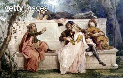 <b>Title</b> : Ariosto and Tiziano (w/c on paper)<br><b>Medium</b> : watercolour on paper<br><b>Location</b> : Private Collection<br> - gettyimageskorea