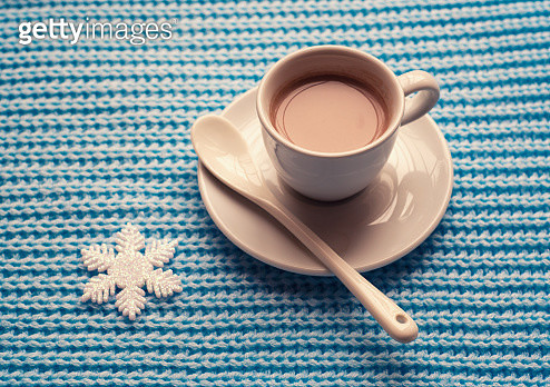 Cup of hot chocolate on a cold winter day - gettyimageskorea
