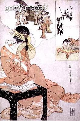 A courtesan dreaming of her wedding (colour woodblock print) - gettyimageskorea