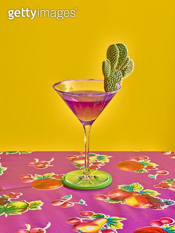 Purple margarita with cactus garnish. Frontal View - gettyimageskorea