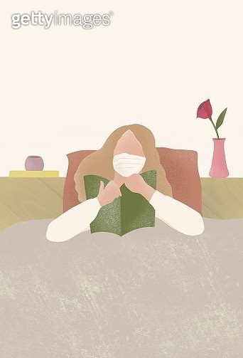 coronavirus, winter virus, flu virus, medical mask, lie down, on a bed, sick, reading, book, room decoration - gettyimageskorea