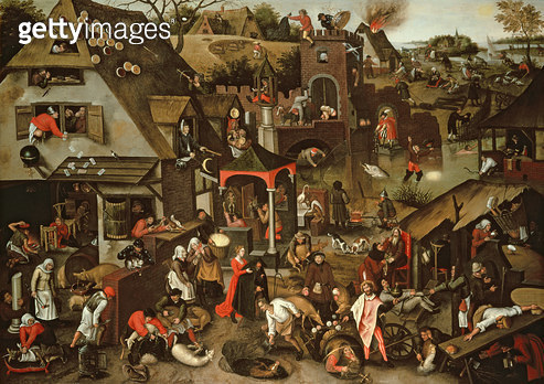 <b>Title</b> : Netherlandish Proverbs illustrated in a village landscapeAdditional Infocopy of painting by his father the Elder of 1559;<br><b>Medium</b> : <br><b>Location</b> : Private Collection<br> - gettyimageskorea