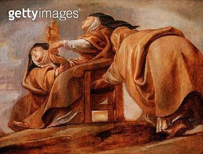 St. Clara of Assisi/ displaying the Pyx - gettyimageskorea