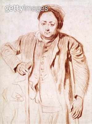 <b>Title</b> : 2266 Antonie de la Rogue, Man on Crutches, c.1714 (chalk on paper)<br><b>Medium</b> : red chalk on paper<br><b>Location</b> : Fitzwilliam Museum, University of Cambridge, UK<br> - gettyimageskorea