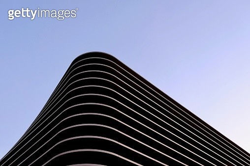 Low Angle View Of Modern Building Against Clear Blue Sky - gettyimageskorea