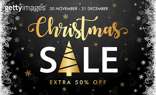 Christmas Sale - Black Background Template Banner - gettyimageskorea