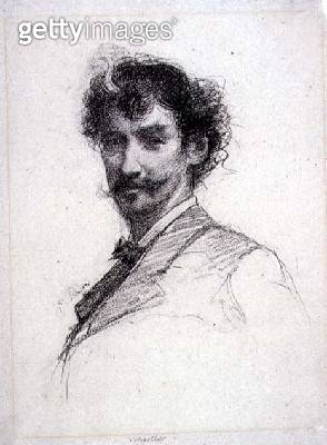 <b>Title</b> : Portrait of James Abbott McNeill Whistler (1834-1903) (photogravure)<br><b>Medium</b> : photogravure<br><b>Location</b> : Fitzwilliam Museum, University of Cambridge, UK<br> - gettyimageskorea