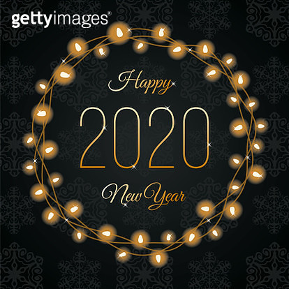 Happy New Year Lights Wreath. Stock illustration - gettyimageskorea