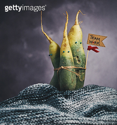 Quirky still life of dikon radish family - gettyimageskorea