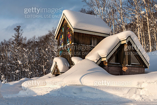 Japanese temple on Hokkaido burried in the snow - gettyimageskorea