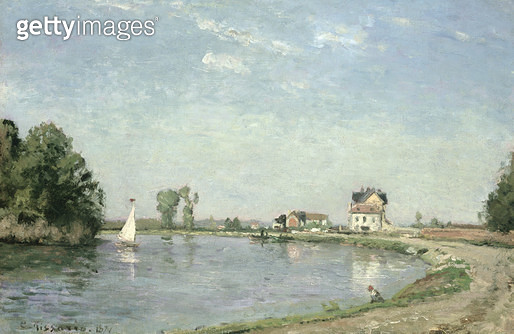 <b>Title</b> : At the River's Edge, 1871 (oil on canvas)<br><b>Medium</b> : oil on canvas<br><b>Location</b> : Private Collection<br> - gettyimageskorea