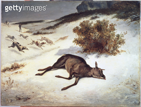 <b>Title</b> : Hind Forced Down in the Snow, 1866 (oil on canvas)<br><b>Medium</b> : <br><b>Location</b> : Walters Art Museum, Baltimore, USA<br> - gettyimageskorea