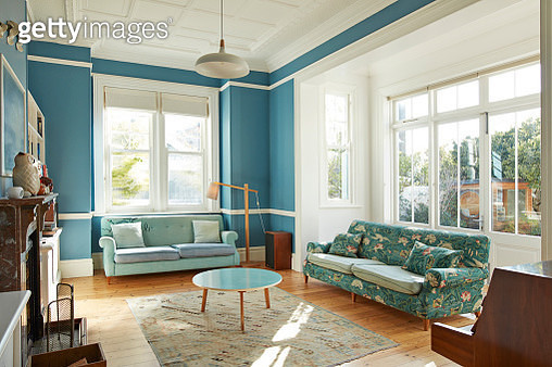 Sofas and coffee table in living room at home - gettyimageskorea