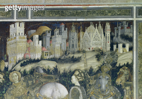 <b>Title</b> : St. George and the Princess of Trebizond, detail of the city in the background, c.1433-38 (fresco)Additional InfoSaint Georges e<br><b>Medium</b> : <br><b>Location</b> : Sant' Anastasia, Verona, Italy<br> - gettyimageskorea