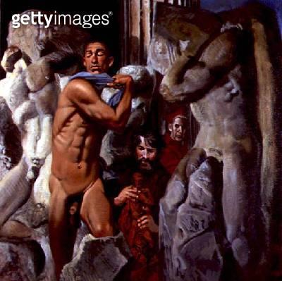 <b>Title</b> : An Allegorical Portrait of Eric Hebborn as Michelangelo, 1995 (oil on canvas)<br><b>Medium</b> : oil on canvas<br><b>Location</b> : www.durand-gallery.com<br> - gettyimageskorea
