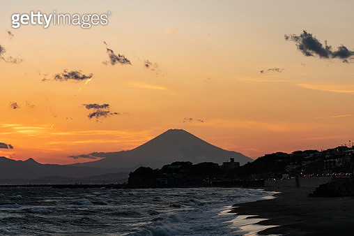 Sunset silhouette Mt. Fuji in Japan - gettyimageskorea