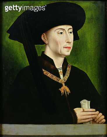 <b>Title</b> : Portrait of Philippe le Bon (1396-1467) Duc de Bourgogne (oil on panel)<br><b>Medium</b> : oil on panel<br><b>Location</b> : Louvre, Paris, France<br> - gettyimageskorea
